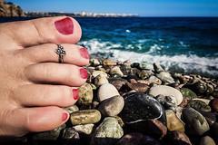 Chilled (Melissa Maples) Tags: antalya turkey türkiye asia 土耳其 apple iphone iphone6 cameraphone mediterranean sea water konyaaltızero beach australian zea woman barefoot foot pebbles pedicure toes toering