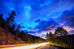 Highway 7 To Heaven (Striking Photography by Bo Insogna) Tags: stars starry astrophotography colorful sky nature coloradolandscapes trees wilderness forest landscapes colorado bouldercounty insogna nighttime climate clouds roads highways streets transportation