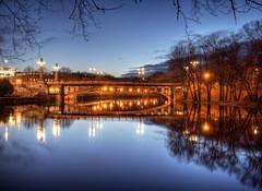 Voidu Bridge in Tartu at night (neilalderney123) Tags: ©2017neilhoward tart estonia olympus reflections bridge landscape river reflection night