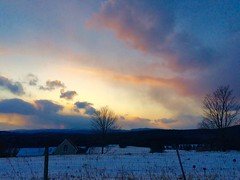 Stormy Sunset (SueZinVT) Tags: clouds sunset well vermont fence silhouette snow sky outdoors