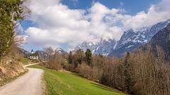 Mountain view in spring (hjuengst) Tags: antoniuskapelle mountain alps austria kaisertal spring hiking clouds chapel ebbs kufstein wilderkaiser stanthonyschapel