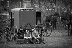 Smiling Amish Girls (crabsandbeer (Kevin Moore)) Tags: amish childhood farm gap kids mennonite mudsale pa pennsylvania people rural spring bw buggy girls youth teenagers