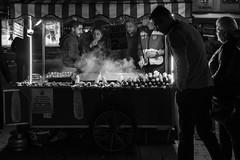 """come together, right now ..."" / corn & chestnut (Özgür Gürgey) Tags: 2017 50mm bw d750 eminönü nikon candid chestnut corn evening lowlight steam street istanbul turkey"