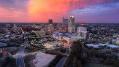 Downtown Raleigh, NC (MegaloPhotography) Tags: landscape architecture dusk sky sunset twilight city clouds skyline aerial nc durham raleigh downtown triangle rdu dji raleighdurham rtp djiglobal aerialphotography phantom4 p4p phantom 4 pro explorenc raleighphotographer phantom4pro