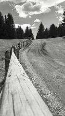 the old fence (lichtauf35) Tags: monocrome blackwhite fence southtyrol outdoor bluecloudysky vigiljoch