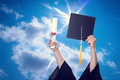 509007093 (стас никитин) Tags: achievement alumni cap cheerful concepts diploma education forecasting graduation graduationgown happiness hat highup holding humanhand learning occupation sky student success sunlight tassel throwing university