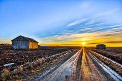 Evening by the fields (ArtDvU) Tags: afternoon evening march finland southern ostrobothnia field barn road sunny sunset landscape wideangle 1020 canon eos 7d mkii spring hdr sky