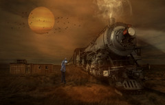 Iron Horse (brian_stoddart) Tags: trains railways steam old vintage desert buildig light colour composite