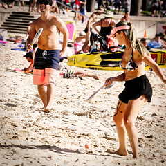 63+488: Twist and shout (geemuses) Tags: manlybeach beachgames beachtennis sandbeach nsw australia bikinigirl man color colour swimmer diver surfer surfing surf water sea ocean wave waves blue foam male
