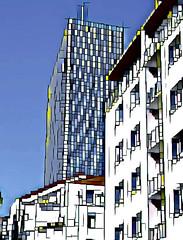 Lyon - Quartier de la Part-Dieu. La tour Incity. (Gilles Daligand) Tags: lyon rhone quartier partdieu tour incity mondrian iphone6s filtre prisma