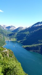 Other side of Geiranger (michellemätzig) Tags: travle transport vacation norway europe holiday shadow ship light colour day lake fjord landscape wow blue green mountain gras tree white sky awesome incredible ex favorite fantastic good gorgeous best beautiful nature geiranger