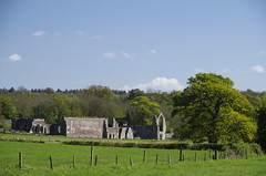 Across green fields (Sundornvic) Tags: ruins abbey haughmondabbey stone destruction broken arches walls sun shine spring sunshine sky blue countryside heritage