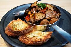 20170421-06-Pork sauasage with mushrooms at Urban Greek in Hobart (Roger T Wong) Tags: 2017 australia greek hobart iv metabones rogertwong sigma50macro sigma50mmf28exdgmacro smartadapter sonya7ii sonyalpha7ii sonyilce7m2 tasmania urbangreek bread food lunch mushrooms pork restuarant sausage