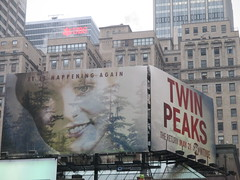 Twin Peaks - The Return Bus AD Billboard Poster 4767 (Brechtbug) Tags: twin peaks the return bus ad billboard poster laura palmer sheryl lee fbi agent dale cooper kyle maclachlan mystery 90s show showtime type mysteriuos bird birds owl owls may 05212017 9pm 2017 what they seem that gum you like is going come back style finally already nyc broadway 50th st near times square midtown manhattan street new york city streets