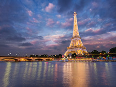 Sparkling Water (v-_-v) Tags: paris france europe river seine tower sparkling water longexposure gold bridge sunset bluehour reflection clouds cliche architecture