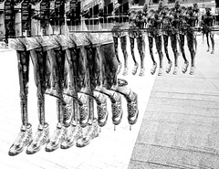 On the Run (beelzebub2011) Tags: canada britishcolumbia vancouver multipleexposure bw monochrome sculpture artwork terryfox