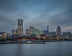 Minato Mirai on a Cloudy Day (Majime-SPN) Tags: cloudy cloud sunset blue hour bluehour nikon nikondslr nikond5500 nikoncamera d5500 dslr sigma sigmalens sigma1020mm minato mirai minatomirai yokohama kanagawa long exposure longexposure nd ndfilter nd64 6stop drama windy osanbashipier pier water ocean ferriswheel ferris wheel wide wideangle cityscape skyline osanbashi viewpoint view city 横浜 神奈川 神奈川県 みなとみらい 観覧車 夜 日本の夜 曇り 風 綺麗 ニコン ニコンd5500 ニコンカメラ 青 空 梅 シグマ シグマレンズ 1020mm dramatic sky