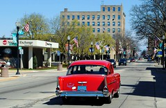 Main St. Fond du Lac, Wisconsin (Cragin Spring) Tags: wisconsin wi midwest unitedstates usa unitedstatesofamerica car chevy chevrolet 57 1957 1957chevy red mainstreet building fonddulac fonddulacwi fonddulacwisconsin downtown street