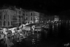 """Night In Venice"" (giannipaoloziliani) Tags: night flickr notte nero blackandwhite monochrome venice italy city venezia lights view landscape sea seaview nikonphotography architecture gondole people citynightlife"