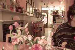 Bake-A-Boo Tearoom (elise hedges) Tags: pink flowers light food floral cake vintage lunch photography cafe model pattern tulips tea banner cupcake tablecloth tearoom afternoontea polkadot lilys bunting ravensbourne 2013 bakeaboo elisehedges