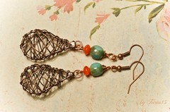 Copper Carnelian and Green (Feeriee13) Tags: handmade jewelry copper earrings