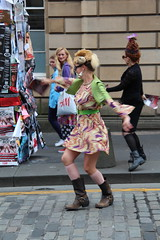 DANCING IN THE STREET (M7CCF STYLE! 2014) Tags: street woman festival canon eos edinburgh dress dancing dramatic fringe skirt babe acting drama act 2013 650d m7ccf