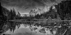 Reflective (PamBoling) Tags: california bw panorama monochrome landscape panoramic halfdome yosemitenationalpark elcapitan nationalparks hdr