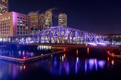 Northern Ave Bridge (Eric Kilby) Tags: longexposure bridge boston night reflections purple ave northern fortpointchannel