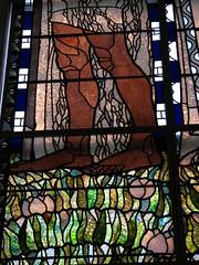 Stained-glass window detail of Johannes (Sparky the Neon Cat) Tags: vienna wien art church window john austria am europe interior kirche stainedglass secession otto johannes nouveau moser osterreich wagner jugendstil steinhof koloman