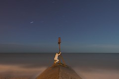 Hanging on for dear sleep (Alex Bamford) Tags: sea brighton hove fullmoon marker moonlight lowtide pajamas pyjamas sleepwalking schlafwandeln somnambulisme alexbamford sonambulismo wwwalexbamfordcom alexbamfordcom