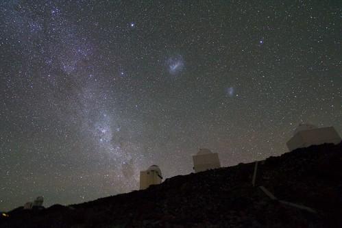 Magellanic Clouds above La Silla