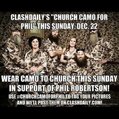 All church goers... Wear cammo to church this Sunday to support #PhilRobertson. #churchcammoforphil #DuckDynasty #freespeech