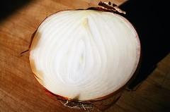 Still Life: Onion (jjldickinson) Tags: wood table longbeach onion wrigley olympusom1 fujicolorpro400 promastermcautozoommacro2870mmf2842 promasterspectrum772mmuv roll460o2