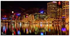 Darling Harbour lights (Brett Huch Photography) Tags: reflection water night marina reflections boats harbour jetty sydney australia nsw darlingharbour aussie hdr