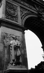 George Washington Stands Here (liska.kimberly) Tags: city nyc urban blackandwhite bw usa detail monument statue architecture design down