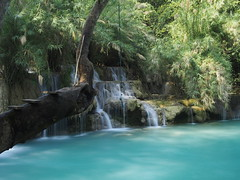 Kuang Si-Waterfall-Luang Prabang-Laos (mikemellinger) Tags: city blue nature water beauty landscape waterfall scenery rocks asia stream southeastasia near terraces peaceful waterfalls cascades layers laos idyllic touristattraction luangprabang swimminghole kuangsi kouangxi {vision}:{outdoor}=0903