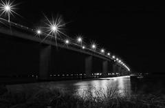 Stockton Blue Hour B&W (OzzRod) Tags: pentax k1 smcpentaxda15mmf4 night lights starbursts bridge river monochrome blackandwhite stockton newcastle australia