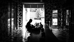 Working - Miami, Florida - Black and white street photography (Giuseppe Milo (www.pixael.com)) Tags: man unitedstates candid figure cafe working silhouette streetphotography faceless usa blackandwhite miami florida us onsale