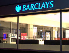 Barclays Preston (Tony Worrall) Tags: capture outside outdoors caught photo shoot shot picture captured night evening sign signage dark open closed lit lights preston north northwest lancs lancashire england northern uk update place location visit area county attraction stream tour country welovethenorth unitedkingdom bank banking