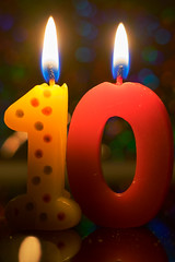 """""""Happy 10 Years!"""" Macro mondays (jamesallen9) Tags: celebration candle decoration party background birthday anniversary zero one number flame colorful illuminated ten wax burning occasion macromondays happy10years"""