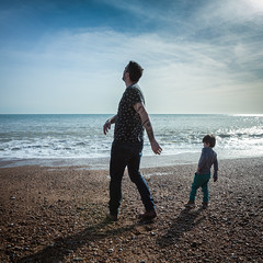 the man in his mirror (stocks photography.) Tags: michaelmarsh photographer hastings coast seaside beach son father grandson