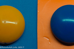 Fifty Fifty HMM (Reinhold.Lotz) Tags: installation macro mondays orange blue macromondays orangeandblue kirtorf hessen deutschland de