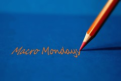 Macro Mondays (eleonoralbasi) Tags: macromondays pencil crayon orange blue tribute orangeandblue text writing