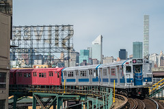 Train of Many Colors (Nick Gagliardi) Tags: trains railroad new york city ny nyc subway electric 7 line train irt interborough rapid transit dual contracts tomc many colors redbird redbirds r33 r33wf r36 r36wf mets baseball special citi field willets point queensboro plaza a division