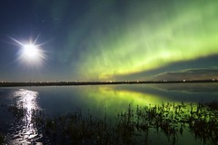 second wave aurora April 4 (John Andersen (JPAndersen images)) Tags: abandoned alberta aurora beiseker clouds house moon night pond radiobeacon reflections stars