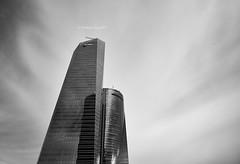 Glass Towers (I)/Torres de Cristal (I) [BW] (Modesto Vega) Tags: nikon nikond600 d600 fullframe architect arquitectura cbta carlosrubiocarvajal architecture arquitecto cuatrotorresbusinessarea césarpelli enriqueálvarezsalawalter green peicobbfreed madrid rascacielos skyscraper torredecristal spacetower torreespacio torrepwc torresacyrvallehermoso towerofglass