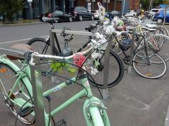 Bike With Bouquet (mikecogh) Tags: prahran bicycle racks flowers plastic artificial