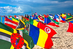 AND, THERE ABOVE THEM ALL...... (akahawkeyefan) Tags: flags venicebeach davemeyer colorful