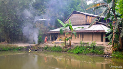 Dawn (mala singh) Tags: house pond water trees woman village bengal india