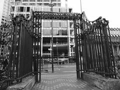 Exits and Entrances (metrogogo) Tags: hsbc hq birmingham exitsandentrances exits entrances wroughtiron gateway portal bw blackandwhite mono monochrome centenarysquare birminghamuk